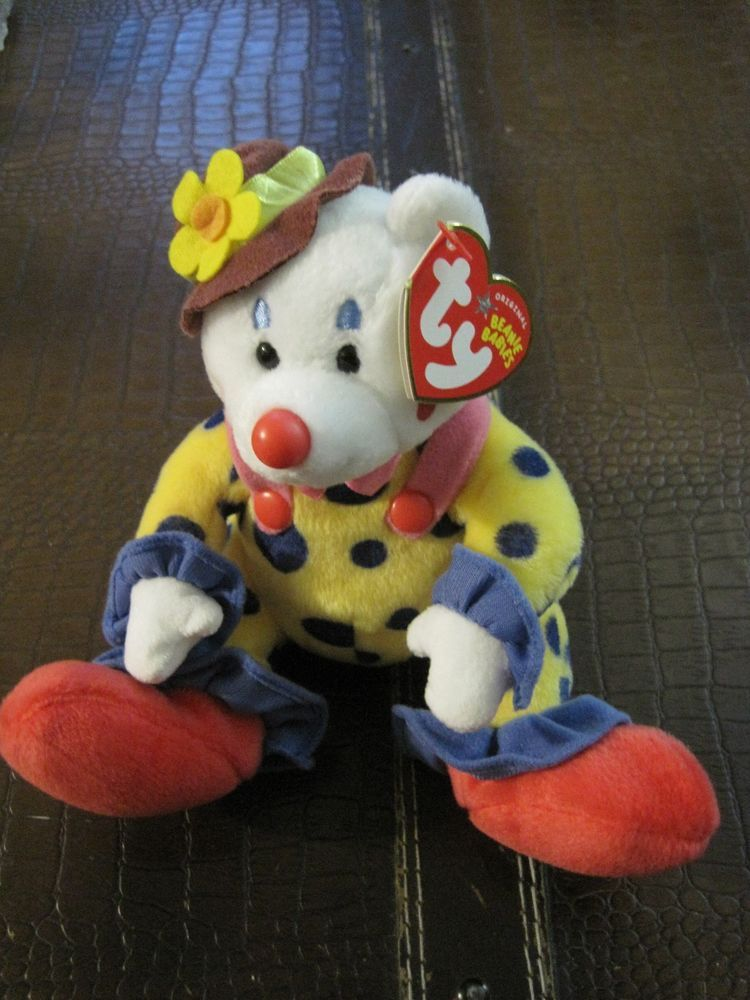 TY BEANIE Babies Plush Stuffed Animal w  tag Juggles Clown  30ff47ada485