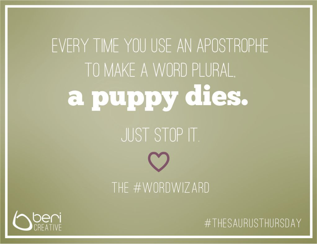 Using apostrophes in plural form   Words, Spelling and ...