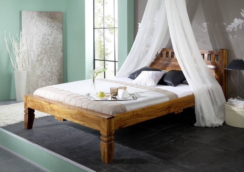 Bett Akazie 140x200x90 Honig Lackiert Oxford 221 Schlafzimmer