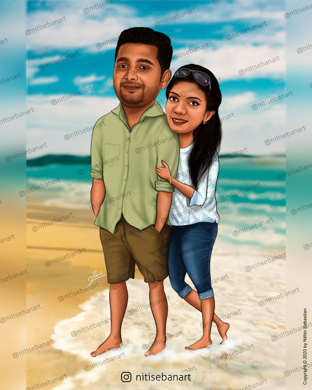 Romantic Couple Caricature Wedding Couple Cartoon Wedding Caricature Caricature Wedding