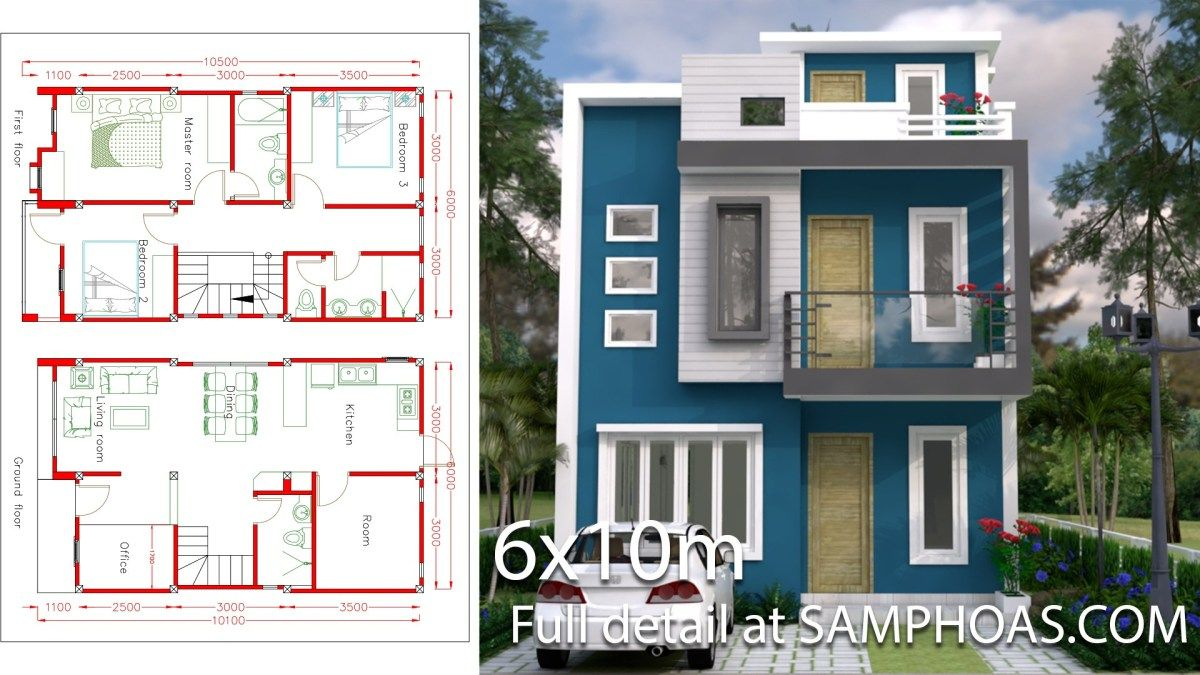Sketchup Home Design Plan 6x10m With 4 Rooms The House Has Small Garden Office Living Room Dining Roo Home Design Plan House Layout Plans House Design