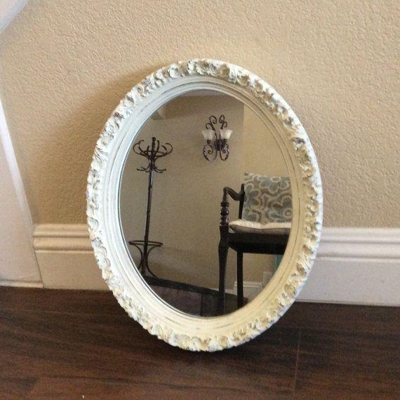 Superb PRETTY OVAL MIRROR White Mirror Ornate Framed Mirror Nursery Mirror  Bathroom Mirror Chic Furniture Cottage Chic Decor Wall Mirror