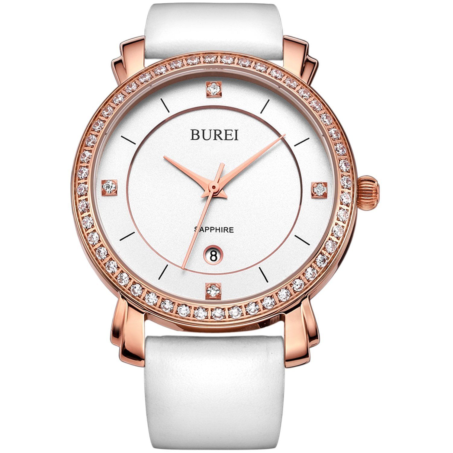 BUREI Women's Elegant Rose Gold Watch with White Leather Band >>> Review more details here