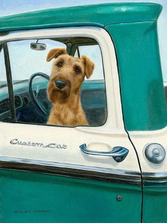 Road Trip A Limited Edition Irish Terrier Print Bullterrier
