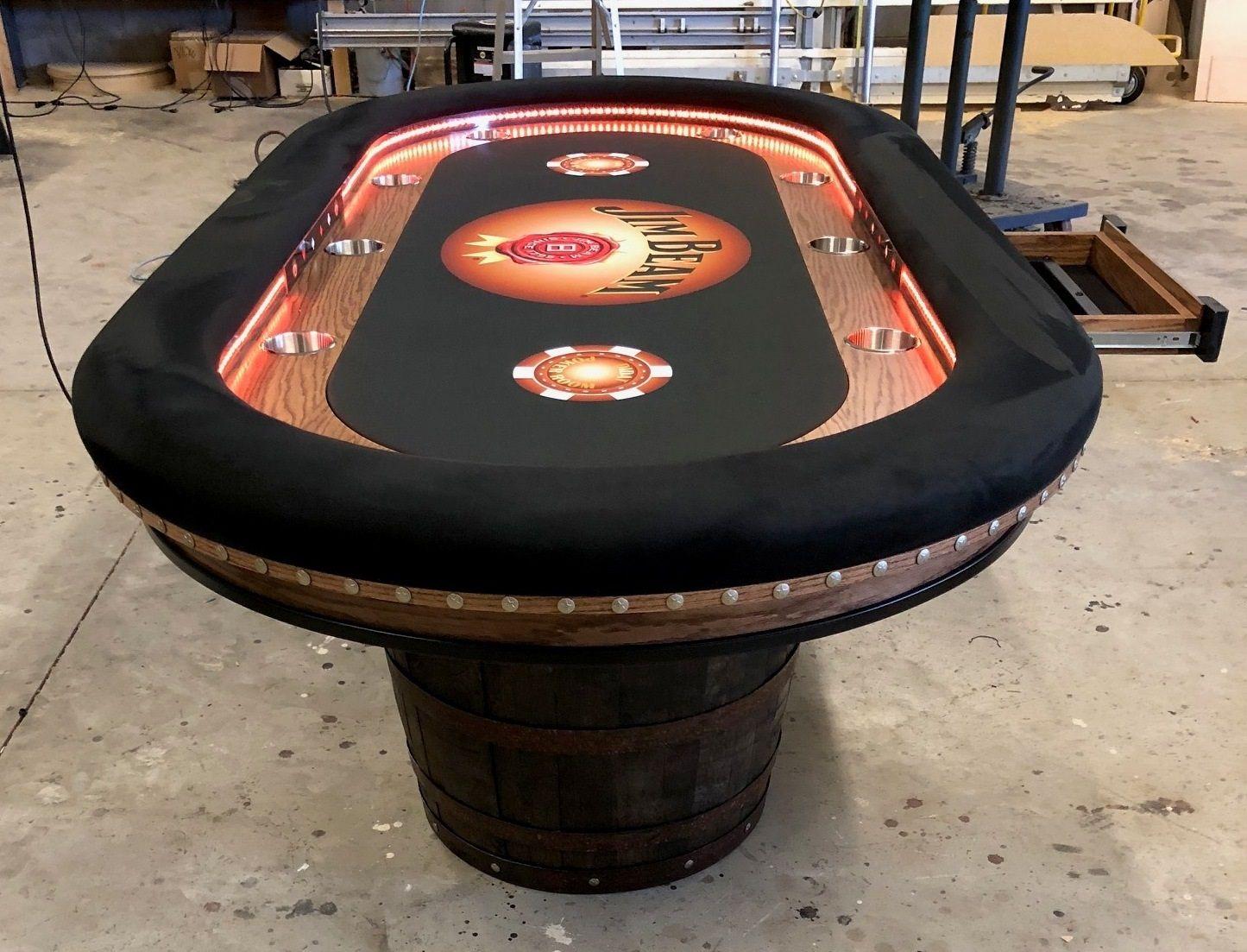 Jim Beam Whiskey Barrel Base Poker Table Poker Table Custom Poker Tables Poker