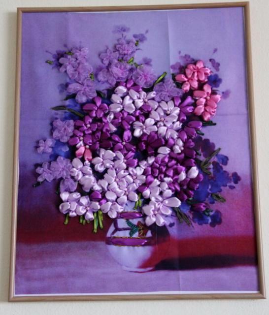 Obraz zo stužiek  - Ribbon flowers picture