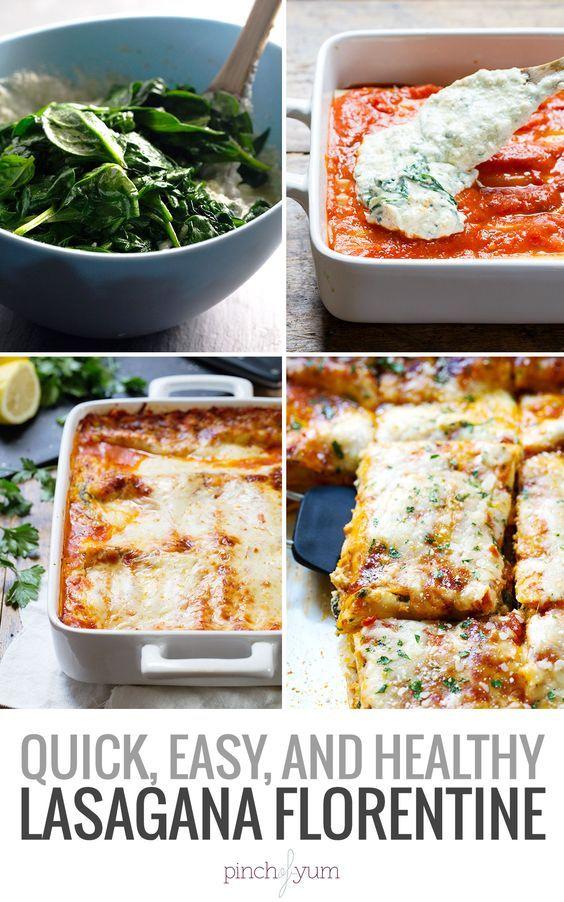 Creamy Tomato Lasagna Florentine - uses no-boil noodles for super quick prep! 330 calories.   pinchofyum.com #lasagna #vegetarian #healthy #spinach