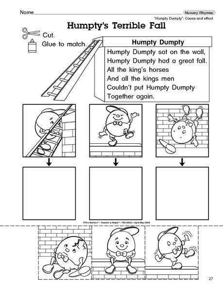 Humpty Dumpty Nursery Rhyme Worksheets Kindergarten Worksheets Nursery Rhymes Rhyming Activities