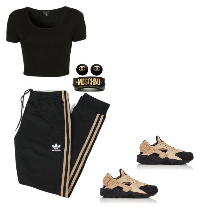 """""""Payroll"""" by trill-experts ❤ liked on Polyvore featuring Topshop, NIKE, adidas Originals, Moschino, women's clothing, women, female, woman, misses and juniors"""