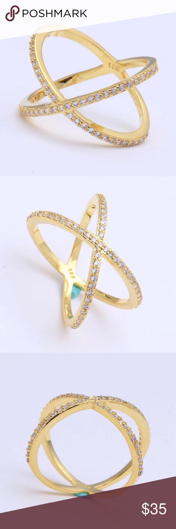 Gold Diamond Crisscross X Style Ring NWT Boutique