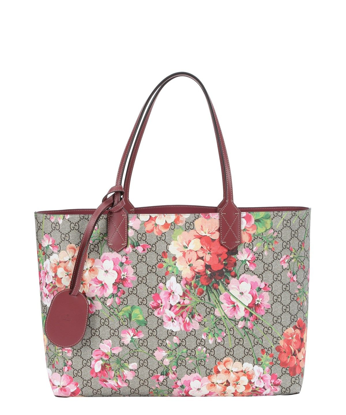 81a53689b7e GUCCI Pink And Beige Gg Blooms Print Leather Reversible Medium Tote Bag .   gucci  bags  leather  hand bags  tote