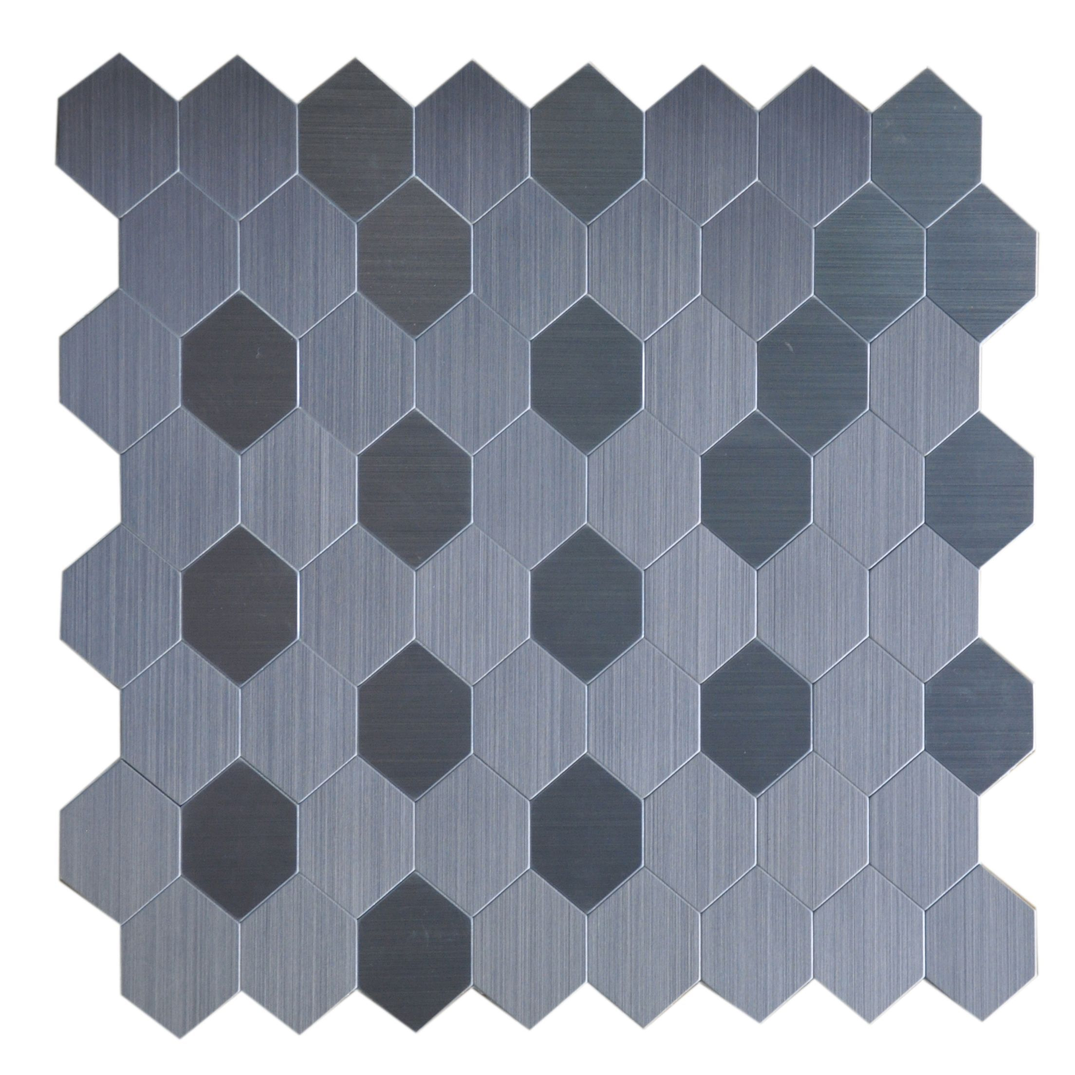 Instant Mosaic 12 Inch Hexagon Peel And Stick Natural Metal Tile 6 Square Feet Metallic Wall Tiles Mosaic Tiles Mosaic Wall Tiles
