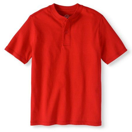 43c52f4ef s Boy's Short Sleeve Henley Tee, Size: Medium, Red | Products ...