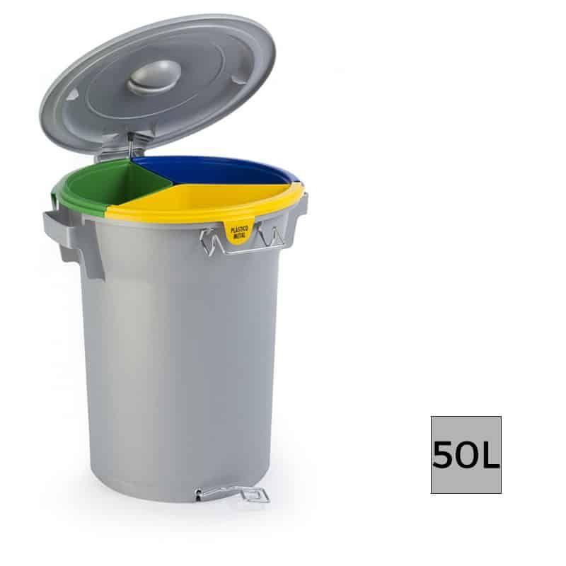 Formentera Poubelle Selectif Triple Compact Avec Pedale 50l Trash Can Compost Bin Design