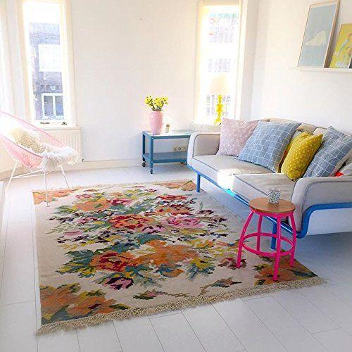 Teppich u2013 Replik einer Vintage Rosenkelim (Weiß) Amazonde Küche - küche landhaus weiß