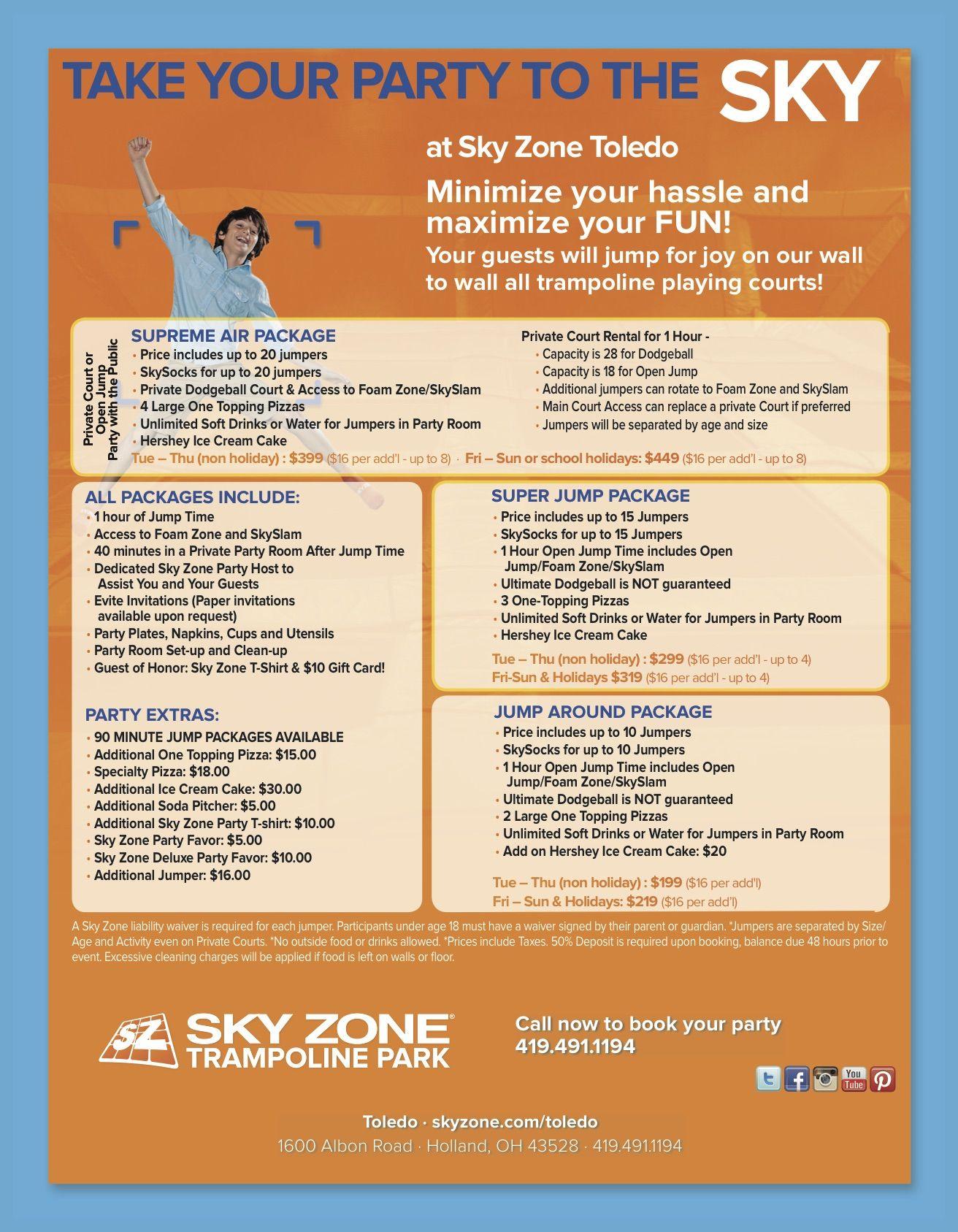 Sky Zone Trampoline Park Toledo Birthday Parties Good Idea