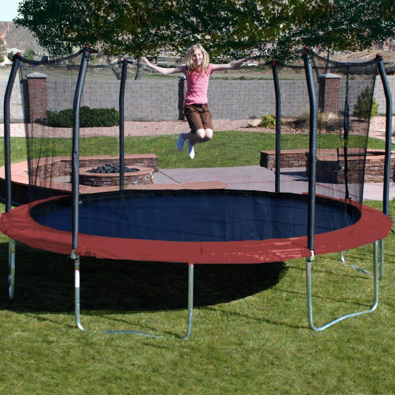 Skywalker 17 Ft Oval Trampoline With Safety Enclosure Red