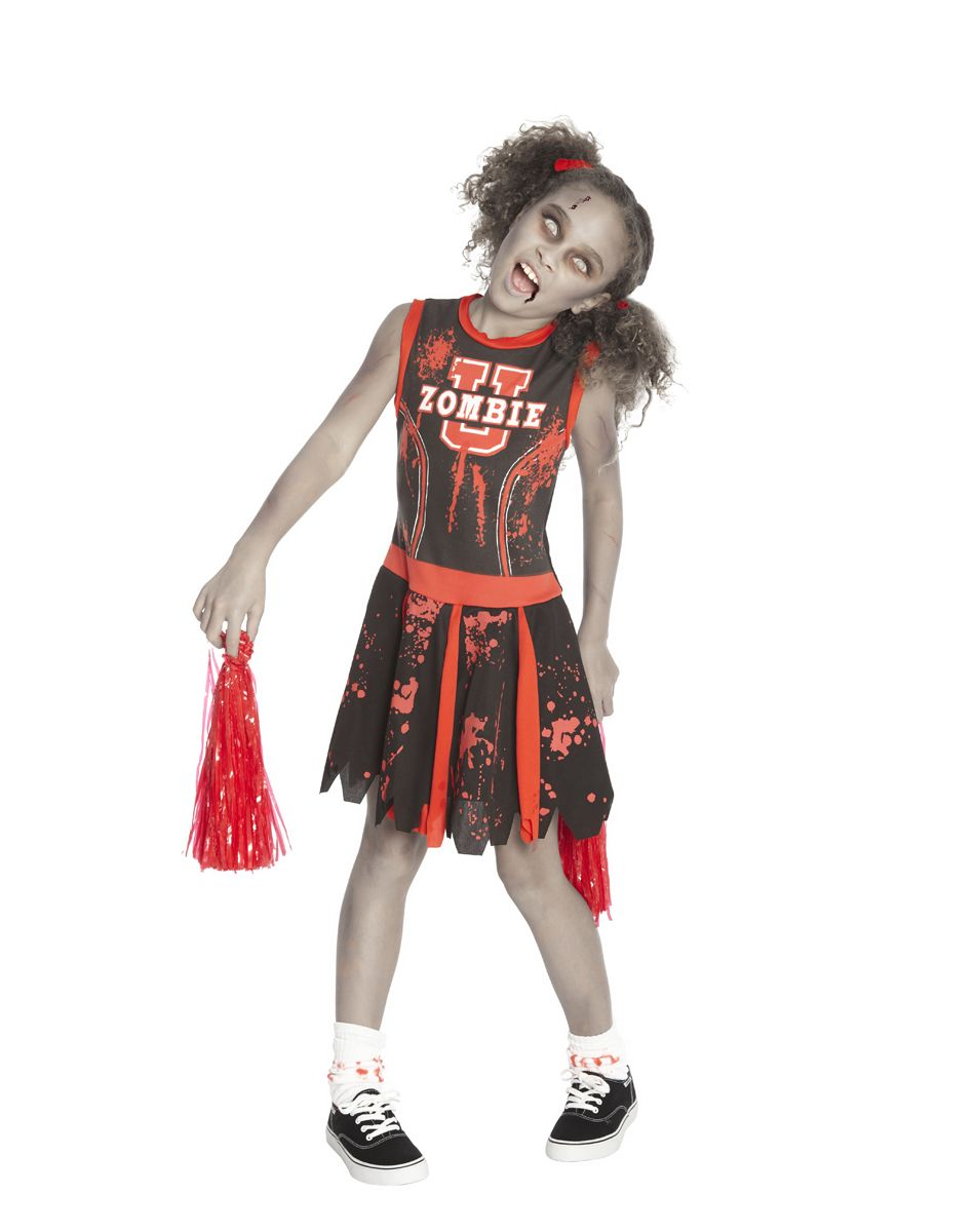 Zombie u cheerleader child costume at spirit halloween school