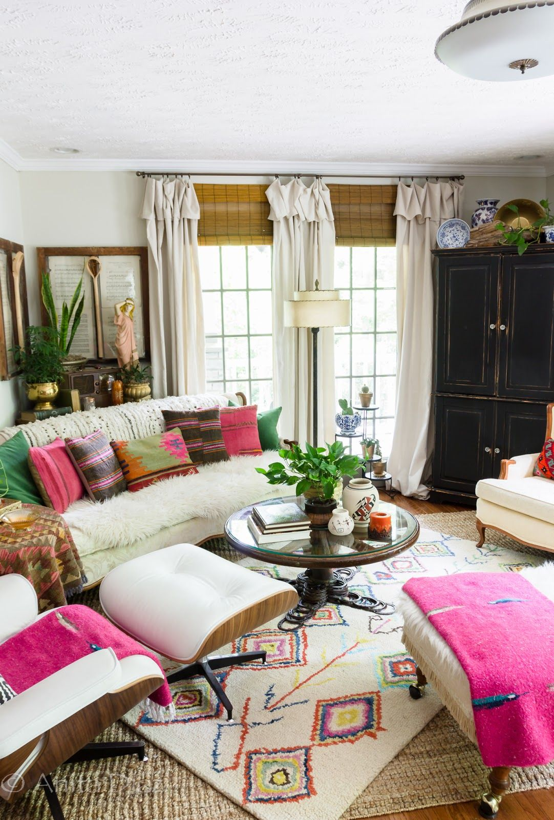 Bohemian Summer Home Tour | Eclectic modern, Bohemian and Living rooms