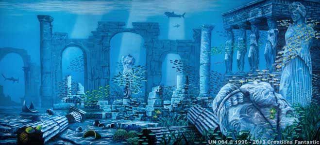 Backdrop Un 064 Atlantis Ruins 2 Ancient Atlantis Underwater City Underwater Ruins