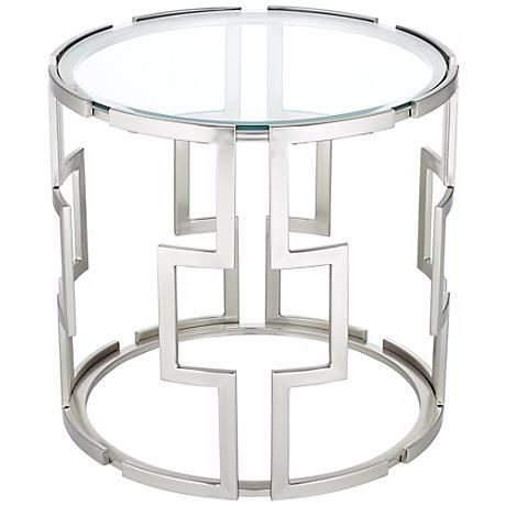 This brushed metal and clear glass end table makes a chic home ...