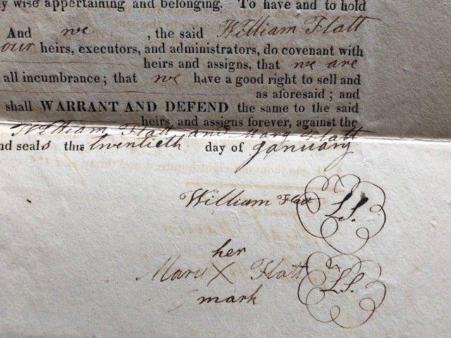 1835 Land Transfer Document, Washtenaw County, Sharon, Michigan
