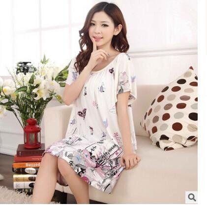 55a4c5e00f Plus Size Nightgowns For Women Long Cartoon Girls Nightshirts Nightdress  Cotton And Silk Sleepshirt Summer Dressing Gowns E0021