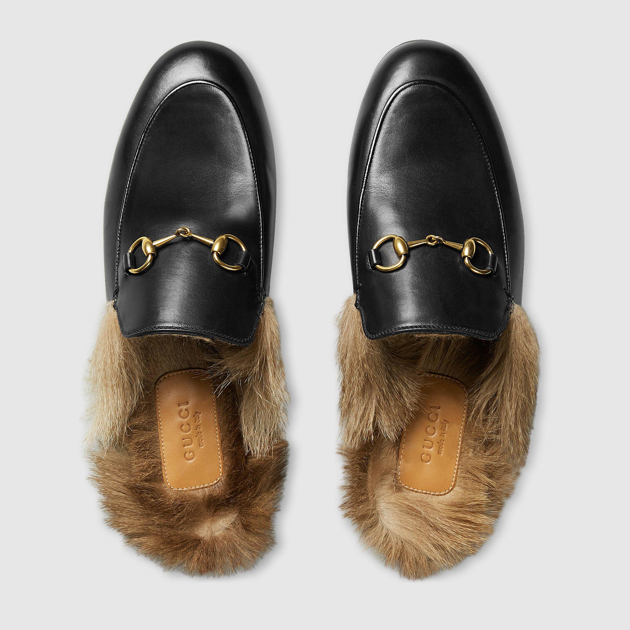 Gucci Women Princetown Leather Slipper 397749dkh201063