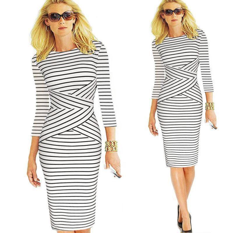 2016 High Quality Sexy Fashion Bodycon Cotton Striped Three-Quarter Sleeve Knee Length Pencil Dress 5 Colors S-2XL