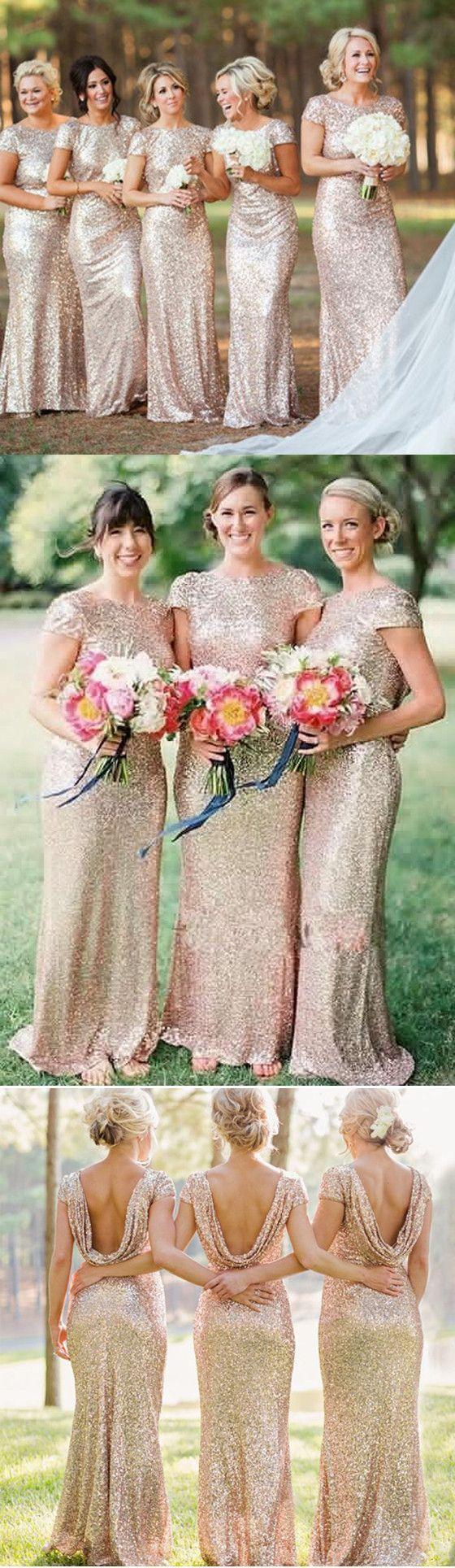Gold sequin short sleeve mermaid long bridesmaid dresses bd