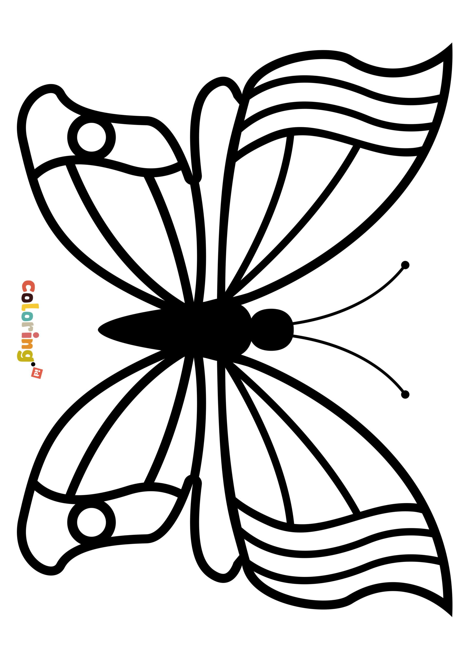 Easy Butterfly to Color Coloring Page All Animal coloring
