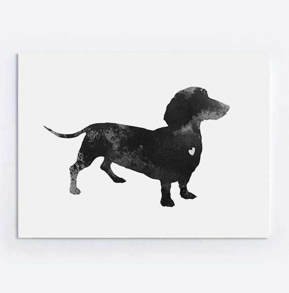 Dachshund Painting Dog Giclee Art Print Black And By Silhouetown