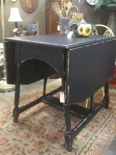 Antique Drop Leaf Table Redone Shabby Chic In Flat Black Shabby