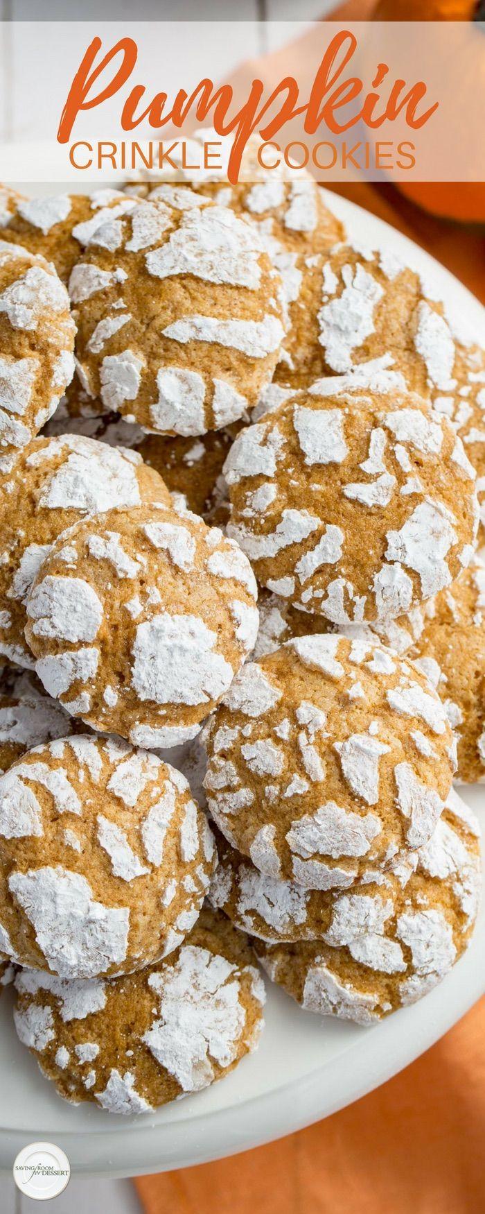 Pumpkin Crinkle Cookies #pumpkindesserts