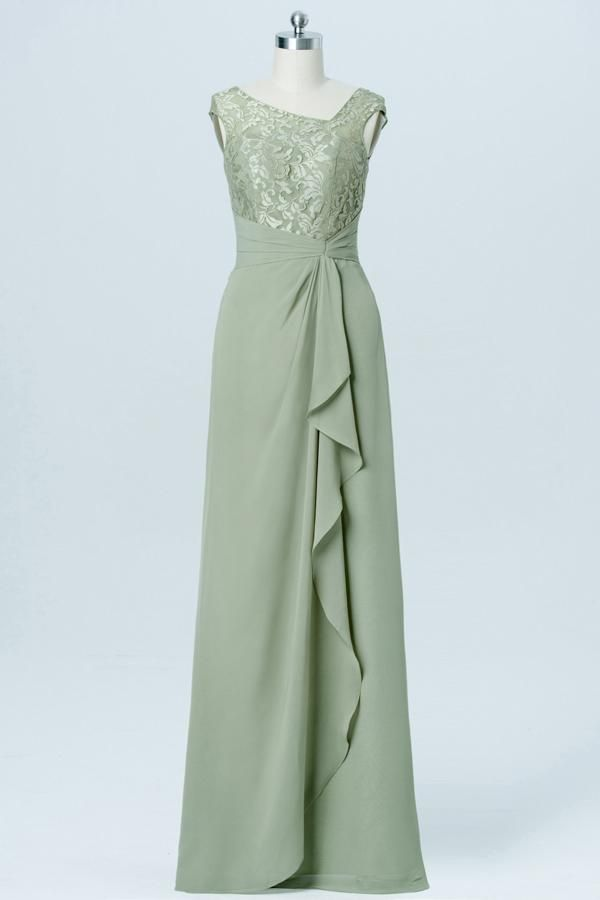 Pale Moss Green Capped Sleeve Cheap Bridesmaid Dresses,Appliques ...