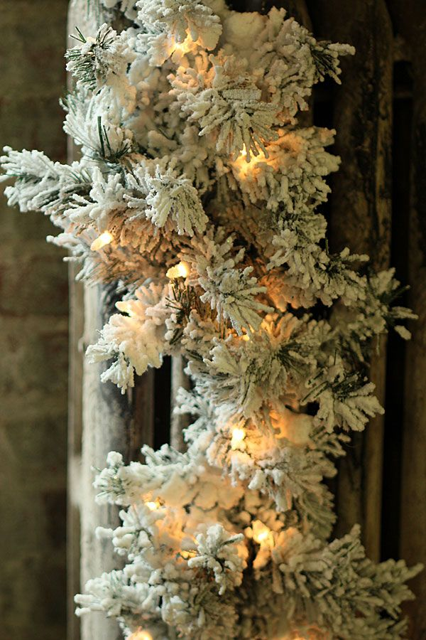 Check Out The Deal On 6 Foot Flocked Pre Lit Garland 35 White Lights At Battery Operated Candles