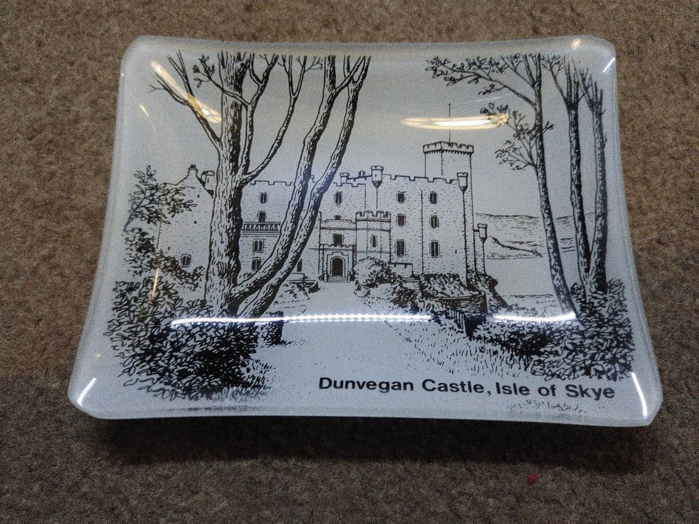Glass Pin Tray Ash Tray Souvenir Plate Dunvegan Castle  | eBay