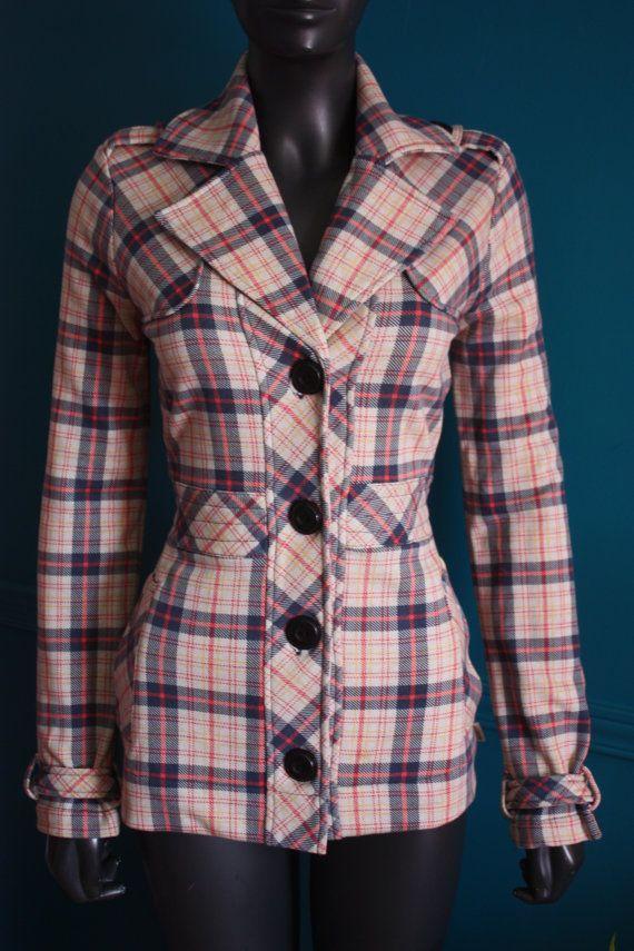 Manteau veste a carreau style 70s de marque par BoutiqueJolokoRetro