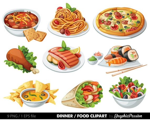 Food Clip art Food Clipart Spaghetti Pizza Sushi by GraphicPassion ...