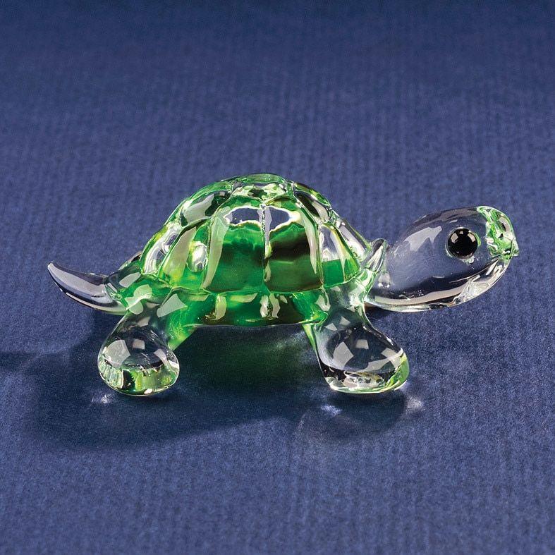 Green Turtle Miniature Animal Blown Glass Figurine Hand Amphibian Sea Art Small