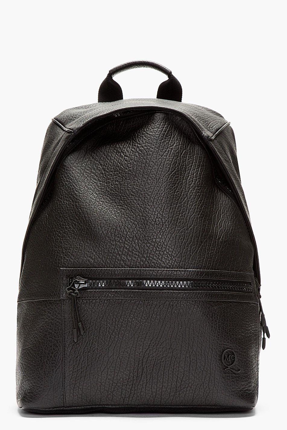 46ea1d0d2e3683 MCQ ALEXANDER MCQUEEN Black Grained Leather Backpack #alexandermcqueen # leatherbackpack