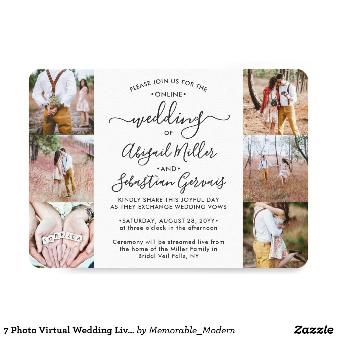 7 Photo Virtual Wedding Livestream Online Ceremony Invitation In 2020 Wedding Invitations With Pictures Photo Wedding Invitations Easy Diy Wedding Invitations