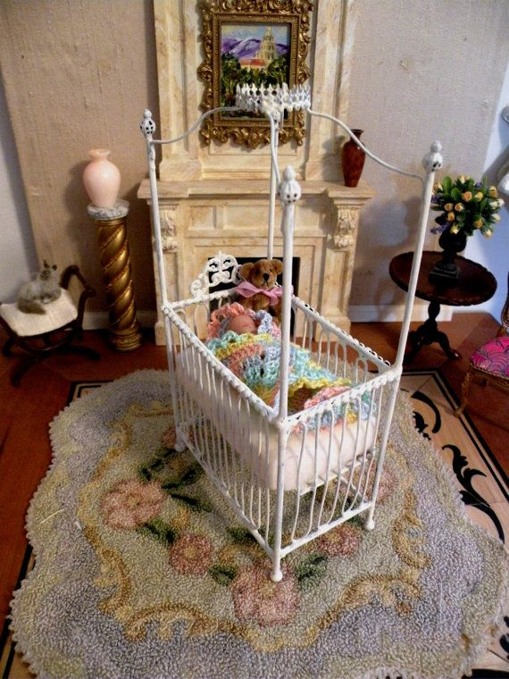 Mia Baby Bedroom Furniture: Dollhouse Miniature 1:12 Scale Artisan Made Wrought Iron