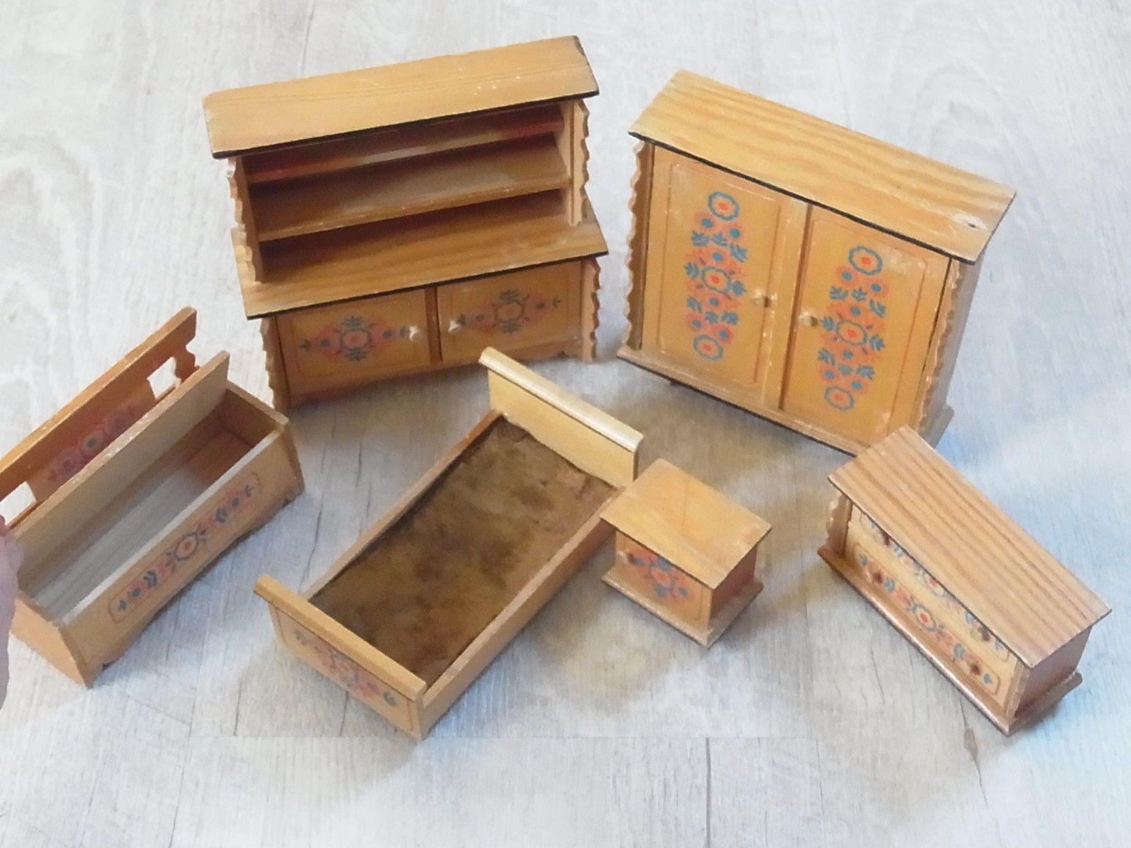 Best Bauernm bel alt Schrank Kommode Buffet Truhe Bett Puppenstube Puppenhaus Vintage eBay
