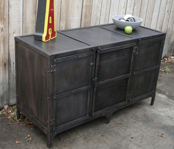 Handmade Industrial Metal Media Cabinet, TV Console, TV Stand On Etsy,  $1,749.00