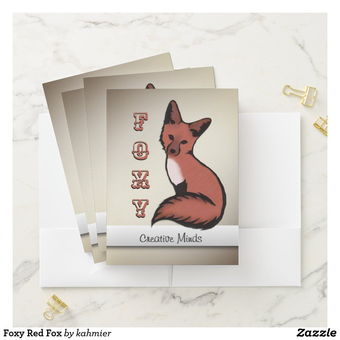 Foxy red fox pocket folder in 2020 pocket