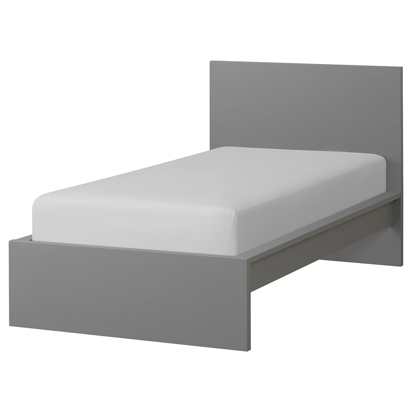 Malm Bed Frame High Gray Stained Luroy Twin Malm Bett