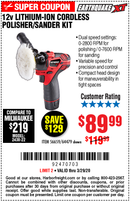 Earthquake Xt 12v Max Lithium Cordless Compact Polisher Sander Kit For 89 99 In 2020 Harbor Freight Tools Coupon Book Sanding