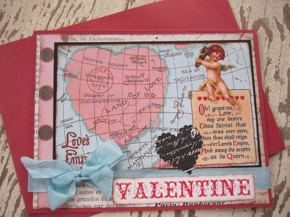 Valentine Card Handmade Valentine Victorian by SweetLibertyBarn