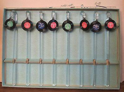 1950 S Vintage Boxed Glass Cocktail Swizzle Sticks Vinyl Record Album Charms Vintage Bar Vintage Kitchen Vintage Box